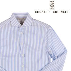 【M】 BRUNELLO CUCINELLI ブルネロクチネリ 長袖シャツ MQ6331718 メンズ ストライプ ブルー 青 並行輸入品 カジュアルシャツ|utsubostock