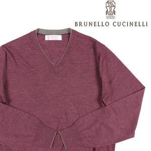 【46】 BRUNELLO CUCINELLI ブルネロクチネリ Vネックセーター M2400162 メンズ カシミヤ混  パープル 紫 並行輸入品 ニット|utsubostock