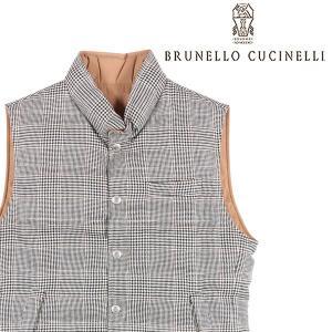 BRUNELLO CUCINELLI(ブルネロクチネリ) ダウンベスト MD4641700 ブラウン x ホワイト M 【A22256】|utsubostock