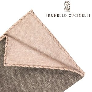 BRUNELLO CUCINELLI ブルネロクチネリ ポケットチーフ MD8810091 メンズ シルク混 カーキ 並行輸入品|utsubostock