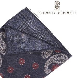 BRUNELLO CUCINELLI ブルネロクチネリ ポケットチーフ MG8850091 メンズ ペイズリー ネイビー 紺 並行輸入品|utsubostock