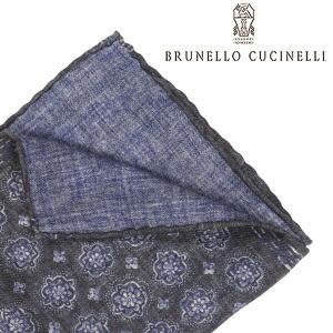 BRUNELLO CUCINELLI ブルネロクチネリ ポケットチーフ MG8840091 メンズ 花柄 グレー 灰色 並行輸入品|utsubostock