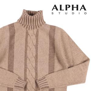 【46】 ALPHA STUDIO アルファ・ステューディオ タートルネックセーター メンズ 秋冬 ベージュ 並行輸入品 ニット utsubostock