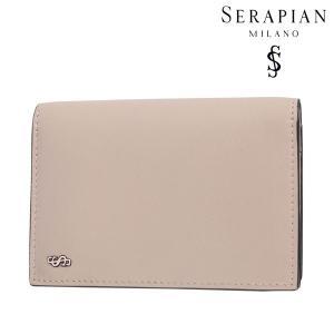 SERAPIAN セラピアン カードケース メンズ レザー ベージュ レザー 並行輸入品|utsubostock