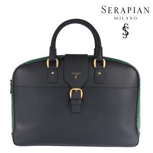 SERAPIAN(セラピアン) ブリーフケース ブラック x グリーン ONESIZE 22609gr 【A22611】|utsubostock
