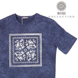ROSI COLLECTION(ロージコレクション) Uネック半袖Tシャツ RIO ネイビー x ホワイト S 22624nv 【S22629】 utsubostock