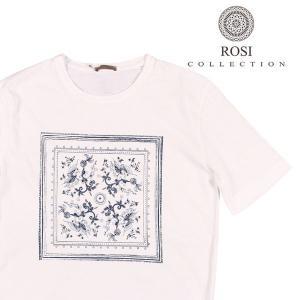 ROSI COLLECTION(ロージコレクション) Uネック半袖Tシャツ RIO ホワイト x ネイビー L 22624wh 【S22626】 utsubostock
