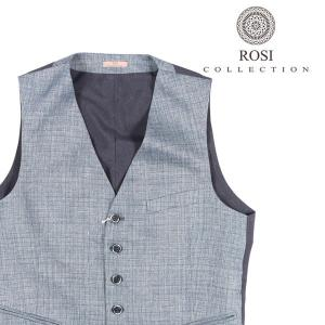 ROSI COLLECTION(ロージコレクション) ジレ GATSBY ブルー x ネイビー 50 22634 【A22636】|utsubostock