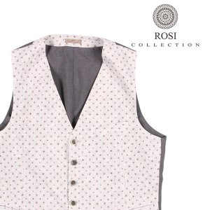 ROSI COLLECTION(ロージコレクション) ジレ GATSBY ホワイト x グレー 54 22639 【S22643】|utsubostock