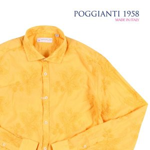 【45】 POGGIANTI 1958 ポジャンティ 1958 長袖シャツ メンズ 刺繍 イエロー 黄 並行輸入品 カジュアルシャツ 大きいサイズ utsubostock