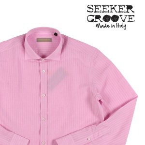 【M】 SEEKER GROOVE シーカーグルーブ 長袖シャツ メンズ 春夏 ストライプ ピンク 並行輸入品 カジュアルシャツ|utsubostock