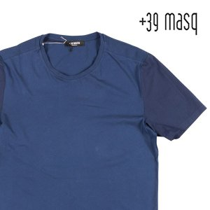 【XXL】 +39 masq マスク Uネック半袖Tシャツ メンズ 春夏 ネイビー 紺 並行輸入品 トップス 大きいサイズ|utsubostock