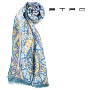 ETRO エトロ ストール メンズ 春夏 リネン100% ペイズリー マルチカラー 並行輸入品|utsubostock