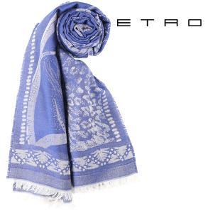 ETRO エトロ ストール メンズ ブルー 青 並行輸入品|utsubostock