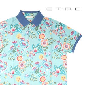 ETRO(エトロ) 半袖ポロシャツ 1Y800-4059 ライトブルーマルチカラー L 23077lbl 【A23081】|utsubostock