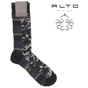 alto milano(アルトミラノ) ソックス 1802UC ブラック x グレー 23559gy 【A23559】|utsubostock