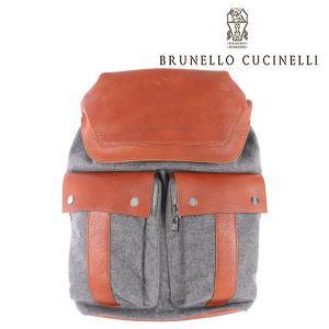 BRUNELLO CUCINELLI(ブルネロクチネリ) リュック CF216 グレー x ブラウン ONESIZE 【A23611】|utsubostock