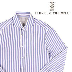 BRUNELLO CUCINELLI(ブルネロクチネリ) 長袖シャツ C016 ブルー x ホワイト L 23613bl 【A23616】|utsubostock