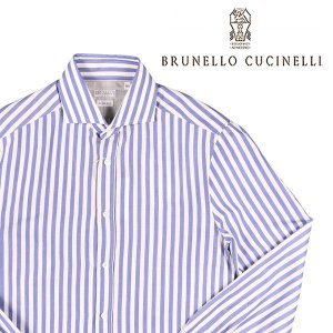 BRUNELLO CUCINELLI(ブルネロクチネリ) 長袖シャツ C016 ブルー x ホワイト S 23613bl 【A23614】|utsubostock