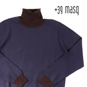 +39 masq(マスク) タートルネックセーター 9131 ダークブルー x ブラウン L 23708dbl 【W23708】|utsubostock