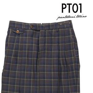 PT01(ピーティー ゼロウーノ) パンツ QG04 ネイビー x ブラウン 52 23796 【W23799】 utsubostock
