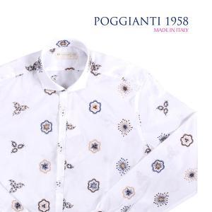 POGGIANTI 1958(ポジャンティ 1958) 長袖シャツ pisa ホワイト x マルチカラー 41 【A23947】 utsubostock