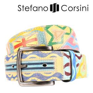 Stefano Corsini(ステファノ・コルシーニ) ベルト FTDECORATA マルチカラー 120 23965 【A23969】|utsubostock