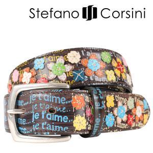 Stefano Corsini(ステファノ・コルシーニ) ベルト FTJET'AIME ダークブラウン x マルチカラー 120 23980 【A23984】|utsubostock