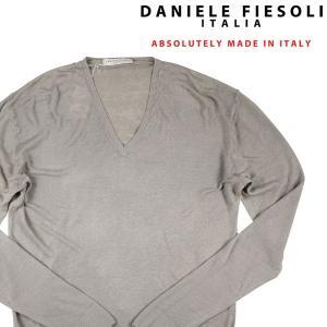 DANIELE FIESOLI Vネックセーター メンズ 春夏 L/48 グレー 灰色 リネン混 ダニエレフィエゾーリ 並行輸入品|utsubostock