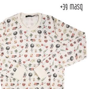 +39 masq 総柄 丸首セーター M43033 white S【A2467】 マスク|utsubostock
