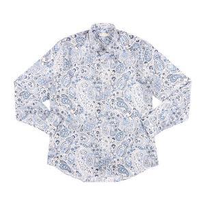 ETRO(エトロ) 長袖シャツ 129084730 ホワイト x ブルー 43 【A25087】|utsubostock