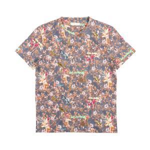 ETRO(エトロ) Uネック半袖Tシャツ 1Y020 ネイビー x マルチカラー 3XL 25207nv 【S25214】|utsubostock