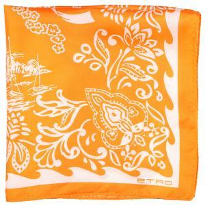 ETRO(エトロ) ポケットチーフ オレンジ x ホワイト 【A25389】|utsubostock