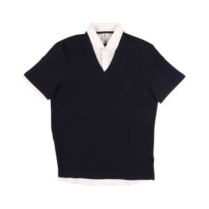 BRUNELLO CUCINELLI(ブルネロクチネリ) 半袖ポロシャツ M0T630714 ネイビー x ホワイト L 【S25580】|utsubostock
