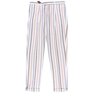 B SETTECENTO(ビーセッテチェント) パンツ CA750-9547 ホワイト x ブルー 33 25629bl 【A25643】 utsubostock