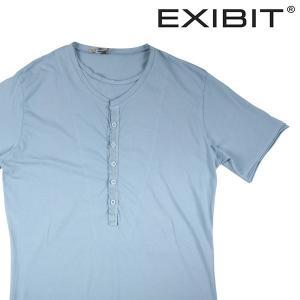 【XL】 EXIBIT エグジビット Uネック半袖Tシャツ メンズ 春夏 スカイブルー 並行輸入品 トップス|utsubostock