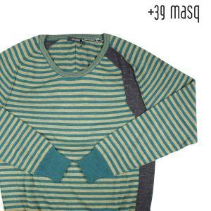 【L】 +39 masq マスク 丸首セーター メンズ 秋冬 ボーダー イエロー 黄 並行輸入品 ニット|utsubostock
