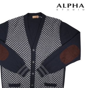 ALPHA STUDIO カーディガン メンズ 秋冬 50/XL ネイビー 紺 アルファ・ステューディオ 並行輸入品|utsubostock