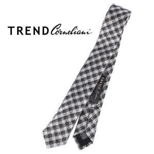 TREND corneliani ネクタイ メンズ シルバー 銀色 シルク混 トレンド コルネリアーニ 並行輸入品|utsubostock