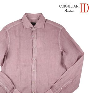 【39】 CORNELIANI ID コルネリアーニ アイディー 長袖シャツ メンズ 春夏 リネン100% ピンク 並行輸入品 カジュアルシャツ|utsubostock