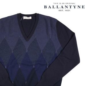 【48】 BALLANTYNE バランタイン Vネックセーター B2P010 メンズ 秋冬 カシミヤ100% ネイビー 紺 並行輸入品 ニット|utsubostock