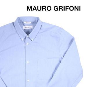 MAURO GRIFONI 長袖シャツ メンズ 43/3XL ブルー 青 マウログリフォーニ 大きいサイズ 並行輸入品|utsubostock