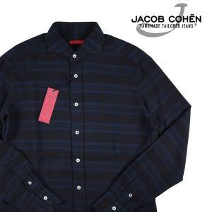 JACOB COHEN 長袖シャツ メンズ L/48 ネイビー 紺 J897 ヤコブコーエン 並行輸入品 utsubostock