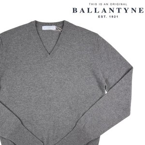 BALLANTYNE Vネックセーター メンズ 秋冬 50/XL グレー 灰色 カシミヤ100% D2P001 バランタイン 並行輸入品|utsubostock