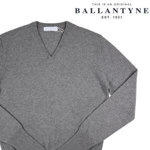 BALLANTYNE Vネックセーター メンズ 秋冬 54/3XL グレー 灰色 カシミヤ100% D2P001 バランタイン 大きいサイズ 並行輸入品|utsubostock