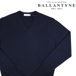 BALLANTYNE Vネックセーター メンズ 秋冬 52/2XL ネイビー 紺 カシミヤ100% D2P001 バランタイン 大きいサイズ 並行輸入品|utsubostock