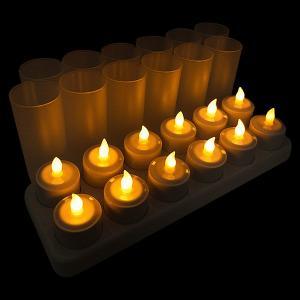 LED キャンドル 充電式 12個セット ゆらめくロウソク ホルダー付 間接照明 リラックス|utsunomiyahonpo
