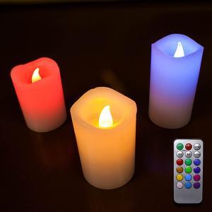 LEDキャンドル 蝋製 3個セット 専用リモコン付|utsunomiyahonpo