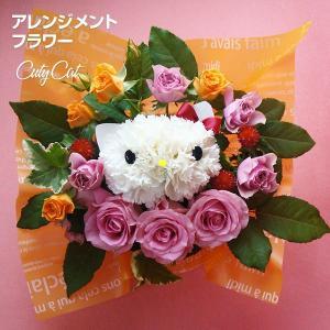 アレンジメント キューティーキャット カーネーション 母の日 お花 メッセージフラワー ハローキティー キティ キティちゃ 贈り物 ネコ プレゼント|utsunomiyahonpo