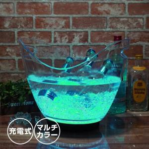 光る ワインクーラー 8L 楕円形 幅35cm×奥行25.5cm×高さ28.5cm マルチカラー 充電式 LED おしゃれ シャンパンクーラー ボトルクーラー クリスマス|utsunomiyahonpo